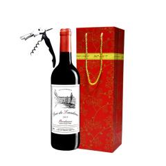 法国进口兰德公爵波尔多干红葡萄酒单支赠开瓶器礼袋装