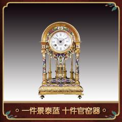中艺盛嘉收藏米振雄景泰蓝鎏金铜胎圆顶钟礼品家居摆件