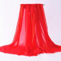 真丝五条金丝围巾女 长款时尚纯色薄款透气防晒 四季百搭围脖
