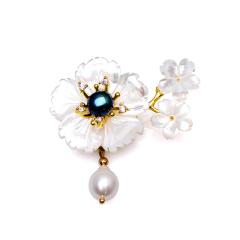 芭法娜 明珠花季 天然淡水珍珠配贝壳时尚胸针吊坠 一款两戴 可当吊坠哦
