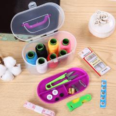 10件套装百宝箱针线盒便携式缝纫工具十字绣7色大线卷优质金尾针