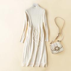 秋冬半高领连衣裙中长款羊毛衫女新款蕾丝针织打底过膝毛衣裙