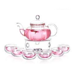 金镶玉 玻璃茶具套组 花茶壶茶杯 手工耐热耐高温水具装功夫茶具