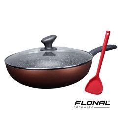Flonal意大利进口火山岩不粘锅炒锅具家用电磁炉燃气灶适用炒菜锅