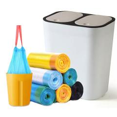 家用自动收口垃圾袋按压式双盖垃圾桶组合装(桶只有米白色款)