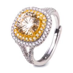 姬芙琳奢华公主方黄莫桑石戒指