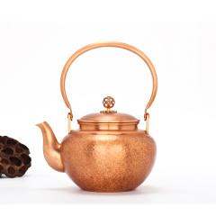 中艺盛嘉孟德仁龟背长寿纹紫铜壶礼品养生煮茶壶烧水壶纯手工铜壶