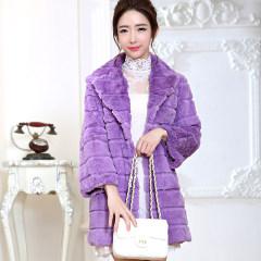 瑷美天使2016新款整皮剪花西服领中长款七分袖韩版兔毛皮草外套