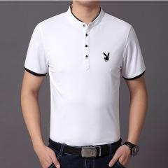 男式短袖T恤V领韩版潮流青年体恤纯色棉个性花公子夏季上衣服男装