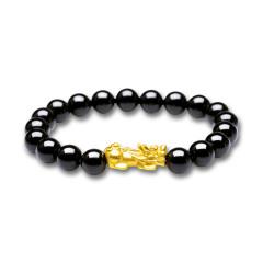 芭法娜 貔貅 3D硬金足金黄金转运珠手链 黑玛瑙编织手链 本命年生日礼物 男士可戴