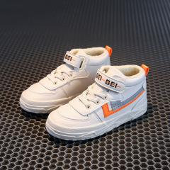 带魔术贴韩版儿童小白鞋 橡胶底轻便时尚儿童板鞋 新款中帮童鞋