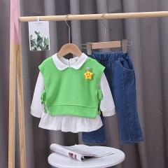 菲儿小屋 外贸秋装女宝儿童外出服潮童0-4岁娃娃领韩版星星三件套