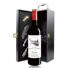法国进口兰德公爵波尔多干红葡萄酒单支礼盒套装
