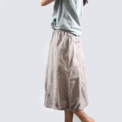 棉麻提花半身裙Q7352
