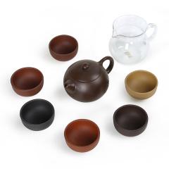 金镶玉 紫砂功夫茶具茶壶茶杯耐热玻璃公道杯套装 素心五色土茶具