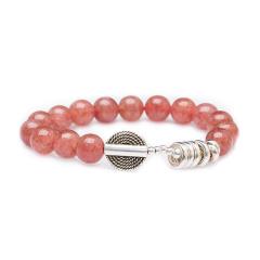 芭法娜 铃悦朦胧 天然草莓晶单圈时尚手链 樱桃红