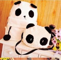 子母熊猫双肩包 时尚单肩斜跨包两件套女包可爱学生书包