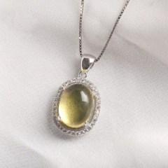 琳福珠宝  S925银镶嵌蓝珀吊坠典雅奢华项坠(赠S925银项链  国检证书)