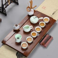 常生源 功夫茶具套装 重竹茶盘 陶瓷公道杯茶壶茶杯 小桥流水一碧万顷茶具套装