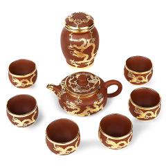 金镶玉 汉扁 紫砂茶具1壶1罐6杯整套