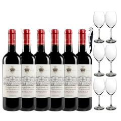 赠6酒杯 查特娜塔莉干红葡萄酒 法国波尔多原瓶原装进口红酒