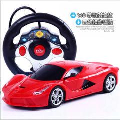 新款热卖方向盘四通儿童玩具遥控车充电跑车模型