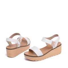 达芙妮(DAPHNE)时尚厚底坡跟一字带女凉鞋1016303059