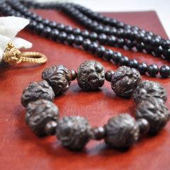 黑檀木手串两件套 黑檀木手链+貔貅佛珠 精品文玩佛珠