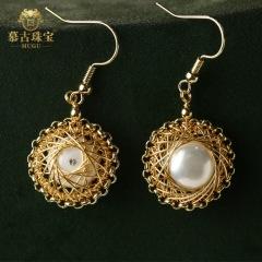 慕古 【一带一路外销款】时尚手工设计款珍珠耳环