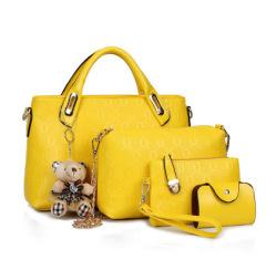 新款女包潮流小熊挂饰四件套女士包包单肩斜跨手提包