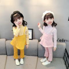 菲尔小屋   2020春季新款童套装 韩版甜美中小女童长袖条纹假两件两件套