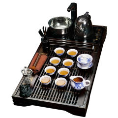 金镶玉 上善若水牡丹 实木茶盘玲珑陶瓷茶具套组
