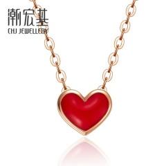 潮宏基 小红书【网红款】小红心 18K金项链玫瑰金彩金项链女 链长约40cm+尾链
