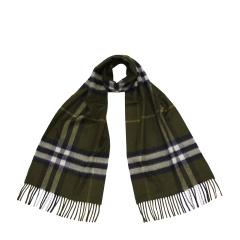 BURBERRY/博柏利 橄榄绿色格纹羊绒长方形围巾 39960211
