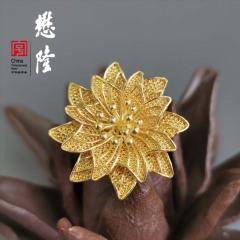 S925银镀金波斯菊戒指 双层花朵 花丝工艺