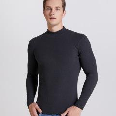 半高领保暖内衣男士加绒德单件上衣长袖T恤打底衫中领内衣秋衣冬