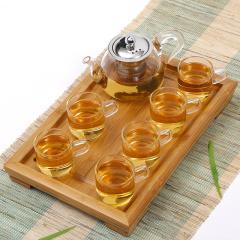 常生源 功夫玻璃茶具 如意品茗杯小平板套组 不锈钢过滤内胆竹木茶盘