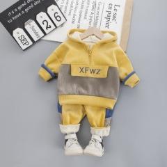 菲儿小屋  韩版涤棉 1~3岁婴幼童圆领加厚复合绒套装 2019宝宝秋冬加厚