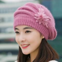 帽子女冬天韩版花朵兔毛帽加厚贝雷帽保暖针织毛线帽秋冬季妈妈帽