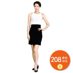 N.L平行绉缝式弹性腰直筒裙 货号106359