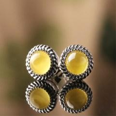琳福珠宝 永恒的爱925银镶嵌天然琥珀血珀 蜜蜡圆珠耳饰耳钉