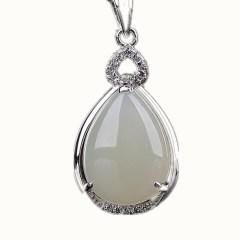 琳福珠宝  心形水滴S925银镶嵌和田白玉项链吊坠饰品