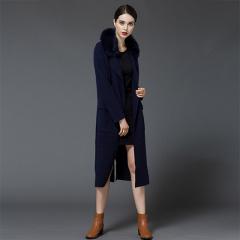 丁摩貂绒长款狐狸毛领大衣毛衣针织衫开衫外套310
