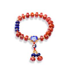 芭法娜 冰红蓝彩 天然南红玛瑙 南红冰红玛瑙 算盘珠时尚百搭单圈手链 文玩风格