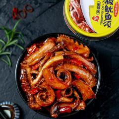 香辣小海鲜熟食网红开罐即食罐装鱿鱼须罐头下饭菜铁板鱿鱼麻辣海味即食零食小吃