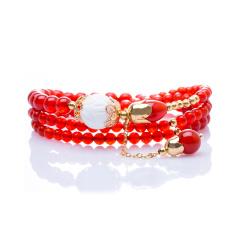 芭法娜 在虹之巅 天然红玛瑙时尚手链 配天然雕刻白砗磲 百搭个性手链