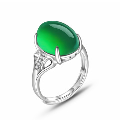 简尊珠宝 s925银绿玉髓戒指 1580
