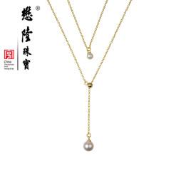 懋隆S925银饰淡水珍珠正圆无暇强光双层项链毛衣链正品包邮