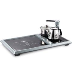 欧博(OPO)S316 电热水壶 自动旋转上水壶 不锈钢烧水壶多功能组合电子大茶盘茶炉茶具 灰色