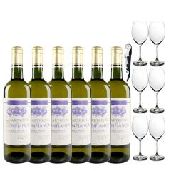 查特康菲丝白葡萄酒 法国波尔多原瓶原装进口干白 整箱特惠 送6酒杯